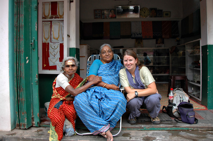 Megan and new friends in Madurai