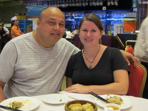 David and Megan eating dim sum in Chinatown